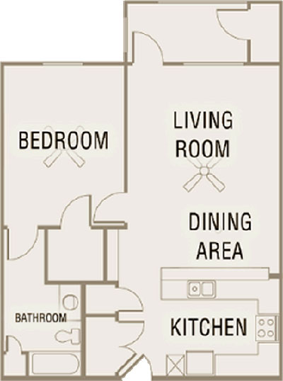 A1 - One Bedroom / One Bath - 860 Sq. Ft.*