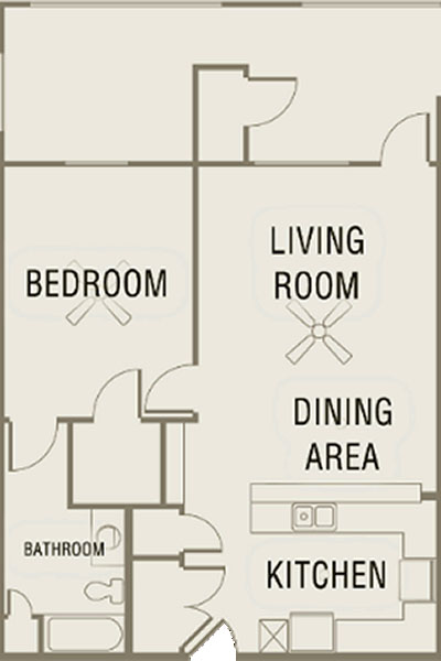 A2 - One Bedroom / One Bath - 860 Sq. Ft.*
