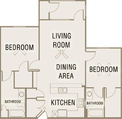 B1 - Two Bedroom / Two Bath - 1,064 Sq. Ft.*