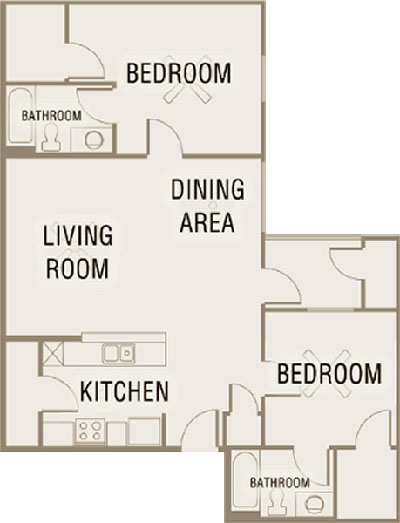 B2 - Two Bedroom / Two Bath - 1,064 Sq. Ft.*