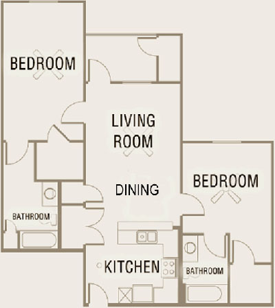 B3 - Two Bedroom / Two Bath - 1,064 Sq. Ft.*