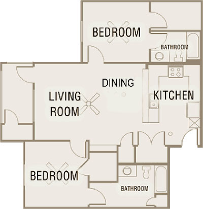 B4 - Two Bedroom / Two Bath - 1,052 Sq. Ft.*