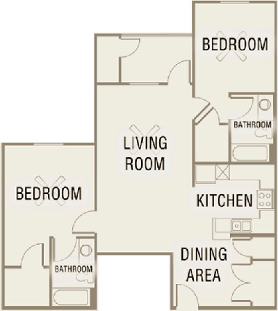 B5 - Two Bedroom / Two Bath - 1,052 Sq. Ft.*